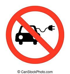 No Eco electric car sign.