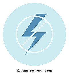 No Electricity Sign Icon On Blue Background