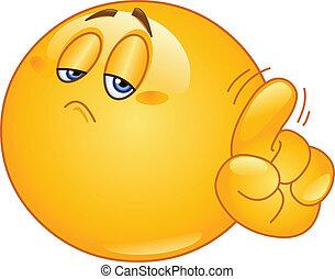No emoticon - Emoticon saying no with his finger