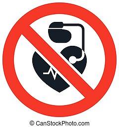 no, entrada, gente, cardíaco, señal, marcapasos, prohibitorio