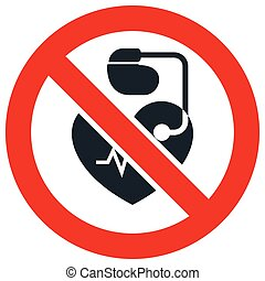 No entrance for people with cardiac pacemaker prohibitory sign