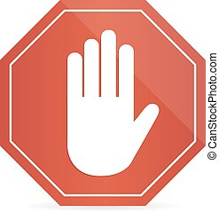 No entry hand sign on white background with shadow