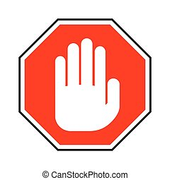 No entry hand sign. Vector illustration.