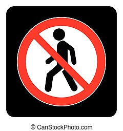 No Entry icon in black background drawing by illustration - Prohibition sign-Vector