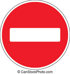 No entry road sign on white background. Vector illustration.