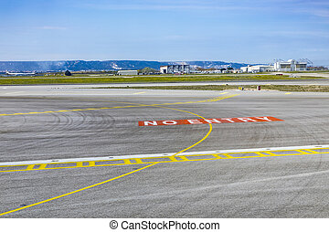 no entry sign at the runway in Marseilles