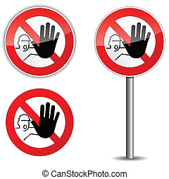 Illustration of no entry sign on white background