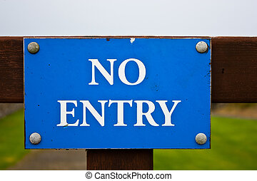 No entry sign, on blue. Useful for concepts