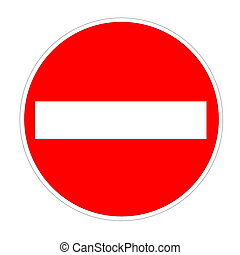 No entry sign - Red no entry sign isolated in white...