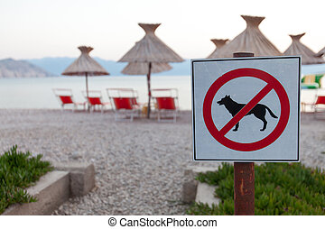 Signs announcing the ban on dogs on the beach. - No entry....