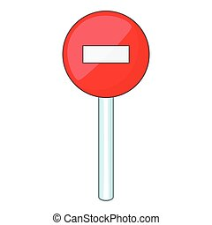 No entry traffic icon, cartoon style