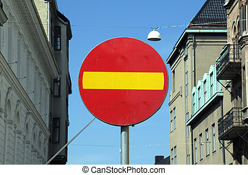 No entry, traffic sign Prohibition Makes