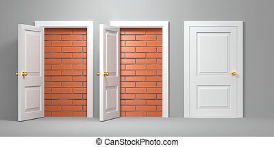 No escape and entrance. Doors laid bricks. 3d