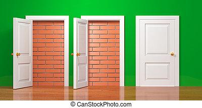 No escape and entrance. Doors laid bricks