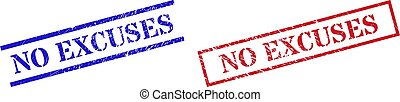 NO EXCUSES Grunge Rubber Stamp Watermarks with Rectangle Frame