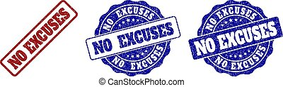 NO EXCUSES Grunge Stamp Seals