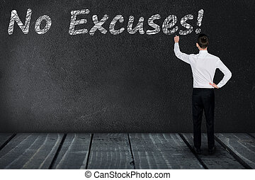 No Excuses text on black board