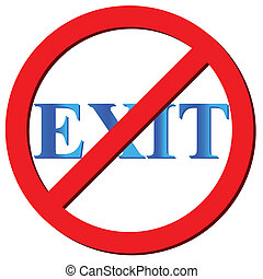 No exit icon on a white background. Vector illustration
