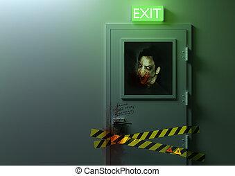 No Exit - A zombie behind a door!