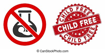 No Extracorporeal Children Icon with Grunge Child Free Stamp
