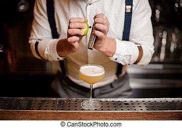 no face close up barman making coctail - no face close up...