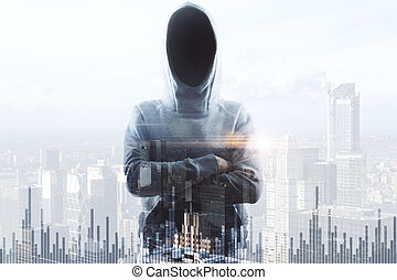 no face hacker and financial chart - double exposure with no...
