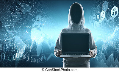 no face hacker with blank laptop - cybercrime, hacking and...