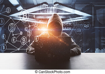 no face hacker with laptop and digital blockchain interface...