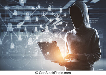 no face hacker with laptop and digital interface - network...