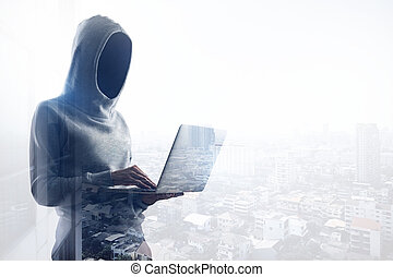 no face hacker with laptop - cyber crime concept with no...