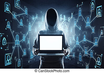 no face hacker with laptop - cybercrime, hacking and...