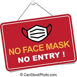No facemask No entry sign. Information warning sign about ...