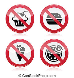 No fast food, no sweets warning red - Attention round sign...