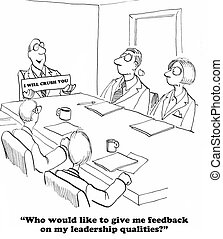 No Feedback - Business cartoon about a leader who does not...
