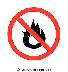 No Fire flame sign icon