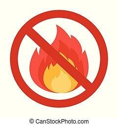 no fire sigh - Flat vector cartoon illustration. Objects ...