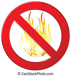 No fire sign - Forbidding vector signs no fire, no camping...