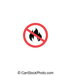 No fire sign isolated on white background