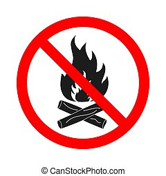 No fire sign on white background. Stop sign - No bonfire ...