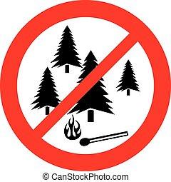 no fire sign (prohibition icon, not allowed sign )