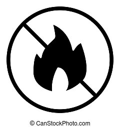 No fire solid icon. Forbidden fire vector illustration isolated on white. No flame glyph style design, designed for web and app. Eps 10.