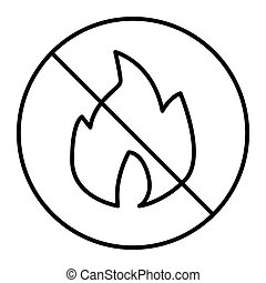 No fire thin line icon. Forbidden fire vector illustration isolated on white. No flame outline style design, designed for web and app. Eps 10.