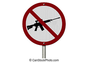 No Firearms Allowed Sign, An red road sign with handgun icon and not symbol isolated on white