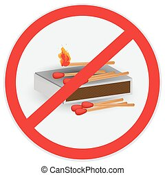 No fires allowed - No, fires, allowed, matches, symbol