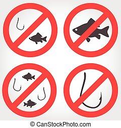 No fishing vector icons