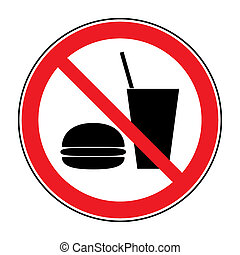 Do not eat and drink icon. No food or drink symbol isolated on white background. No eating and no drinks allowed. Red circle prohibition sign. Stop flat symbol. Stock