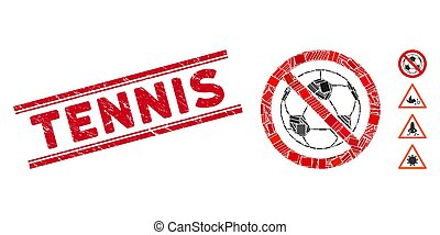 No Football Mosaic and Scratched Tennis Stamp with Lines