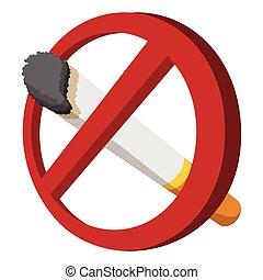 no, Fumar, icono, caricatura, señal