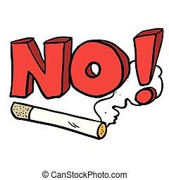 no, Fumar, señal, caricatura, Cigarrillo