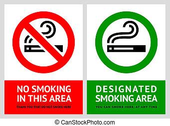 no fumar, y, fumar, área, etiquetas, -, conjunto, 8